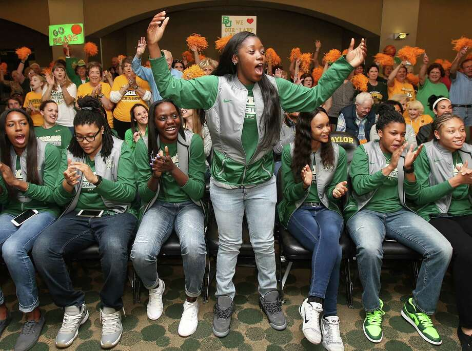Alexis Jones leads the cheers as the Baylor Lady Bears are selected as the top-seeded team in the Dallas Regional on Monday. Baylor will host Idaho in the first round of the NCAA Tournament at 4 p.m. Friday. Photo: Jerry Larson, MBO / Waco Tribune Herald