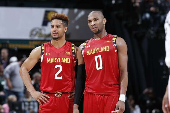 INDIANAPOLIS, IN - MARCH 12: Rasheed Sulaimon #0 and Melo Trimble #2 of the Maryland Terrapins look on against the Michigan State Spartans in the semifinals of the Big Ten Basketball Tournament at Bankers Life Fieldhouse on March 12, 2016 in Indianapolis, Indiana. Michigan State defeated Maryland 64-61. (Photo by Joe Robbins/Getty Images)