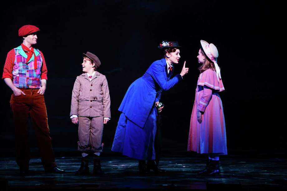 "The titular nanny (Christina Decicco) teaches a thing or two to the Banks children (Sean Graul and Kelly Lomonte) in ""Mary Poppins."" Photo: Christian Brown / Christian Brown"