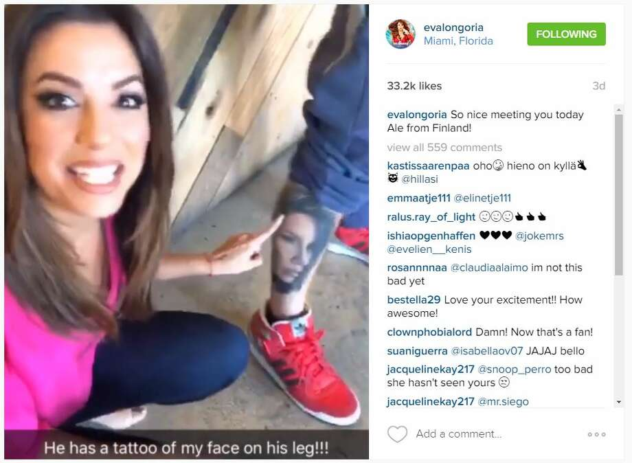 Actress Eva Longoria lost her mind after she saw this man's tattoo of her face on his leg.