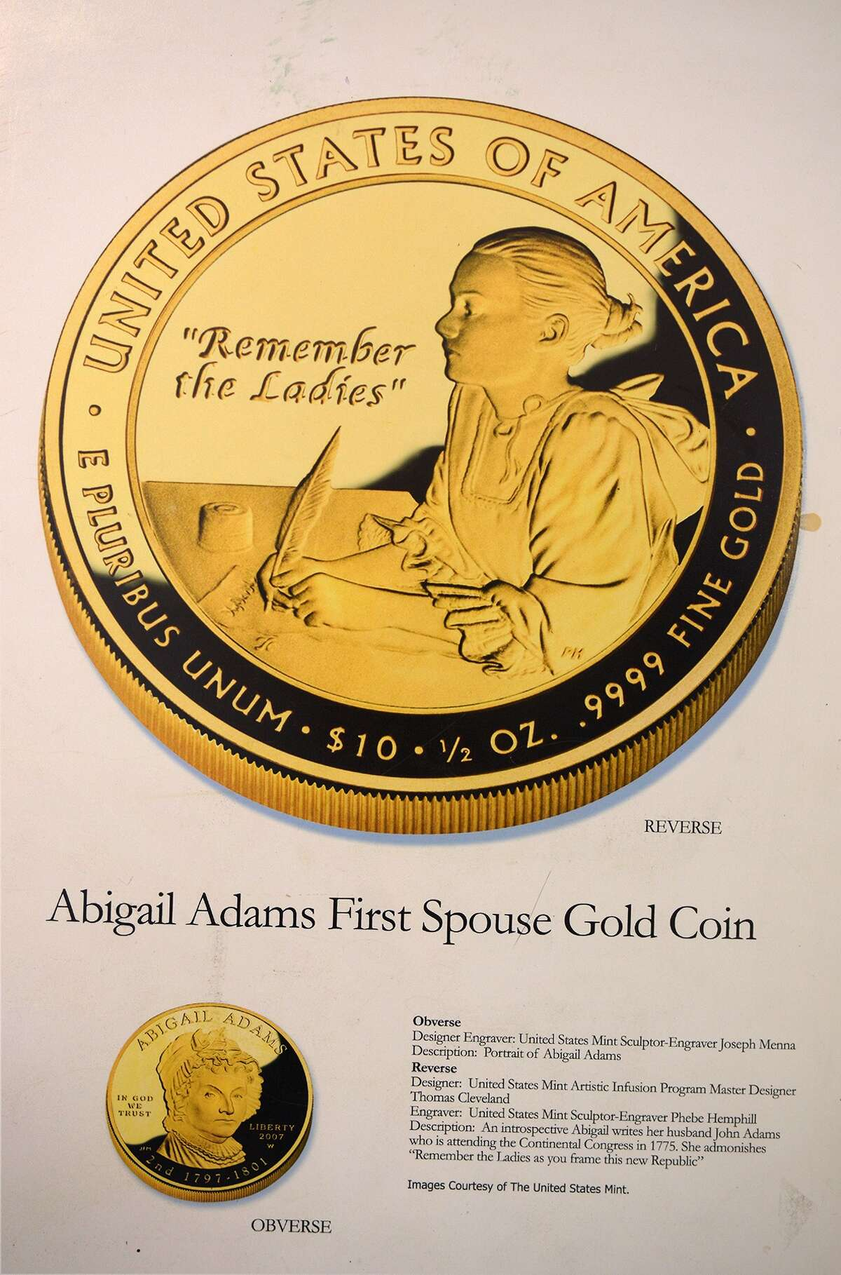 Thomas Cleveland helped design collectible coins such as this Abigail Adams piece for the U.S. Mint through the Artist Infusion Program.Thomas Cleveland helped design collectible coins such as this Abigail Adams piece for the U.S. Mint through the Artist Infusion Program.