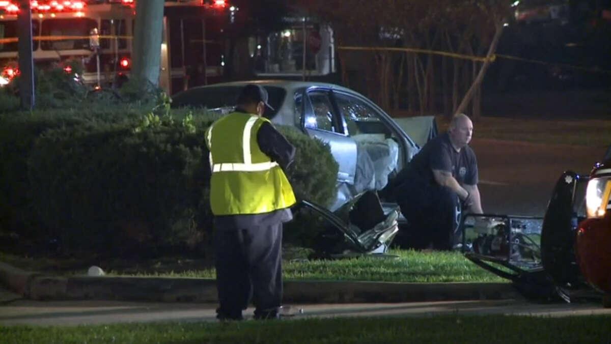 Police investigate a crash at 8900 Cullen, Monday, March 15.