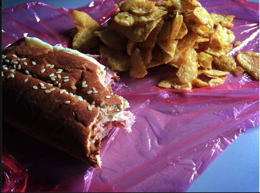 Sandwich, chips and cellophane.