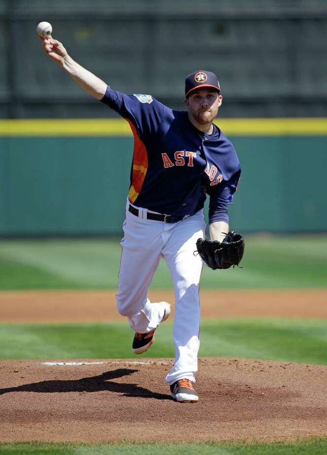 Houston Astros starting pitcher Collin McHugh throws in the first inning in a spring training baseball game against the Washington Nationals, Tuesday, March 15, 2016, in Kissimmee, Fla. Photo: John Raoux, AP / Copyright 2016 The Associated Press. All rights reserved. This material may not be published, broadcast, rewritten or redistribu