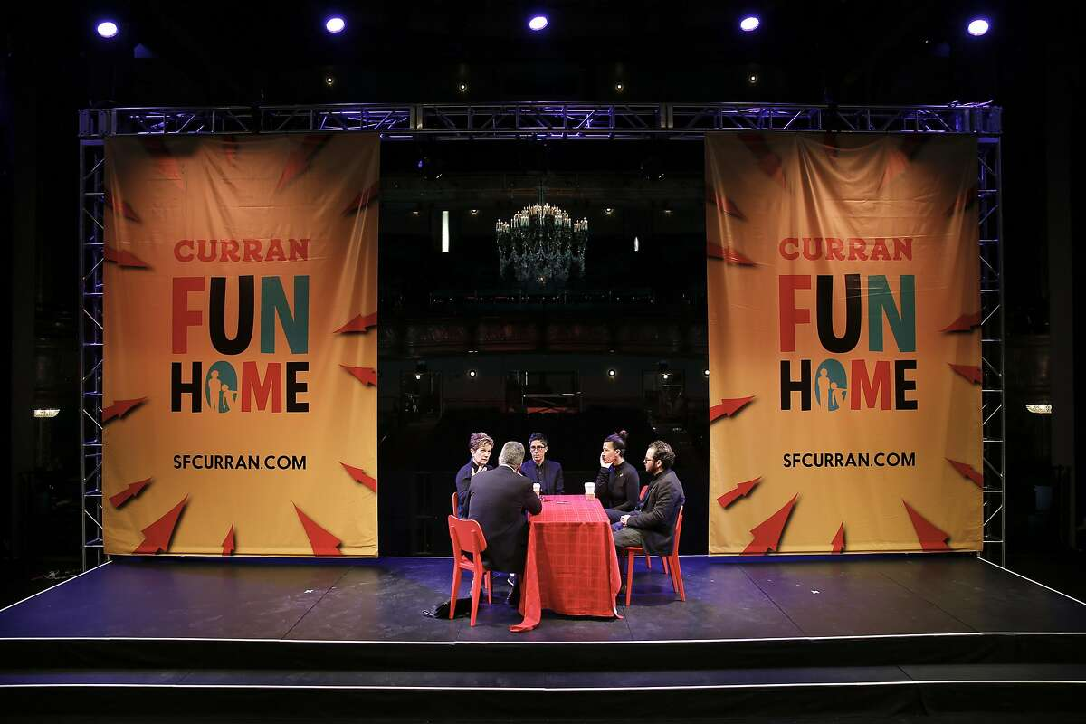 (l to r) Lisa Kron, the book writer and lyricist, Alison Bechdel, the author, Jeanine Tesori, the composer and Sam Gold, the director, of the musical Fun Home during a Chronicle interview at the Curran Theater on Tues. March 15, 2016, in San Francisco, California.