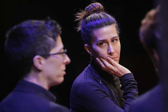 Alison Bechdel, (left) the author and Jeanine Tesori the composer of the musical Fun Home as seen at the Curran Theater on Tues. March 15, 2016, in San Francisco, California.