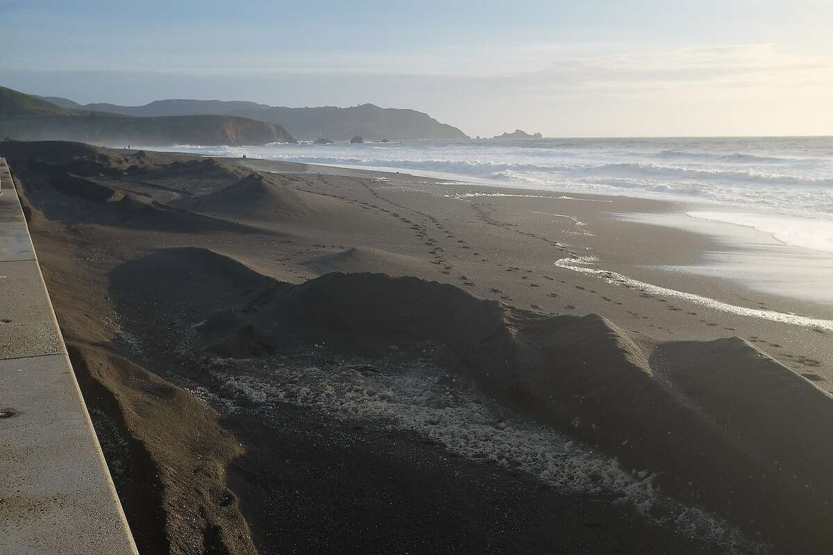 When was the last time Pacifica's Sharp Park State Beach featured oddly shaped dunes like this? (Photo taken on March 14, 2016.) See how the beach has evolved over recent years in this gallery.