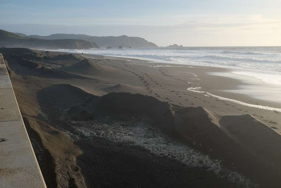 When was the last time Pacifica's Sharp Park State Beach featured oddly shaped dunes like this? (Photo taken on March 14, 2016.) See how the beach has evolved over recent years in this gallery. Photo: Mike Moffitt, SFGATE