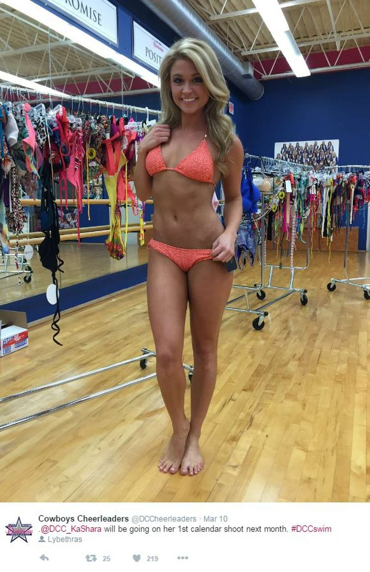 The Dallas Cowboys Cheerleaders were getting prepped and fitted March 10, 2016, for this year's swimsuit calendar.