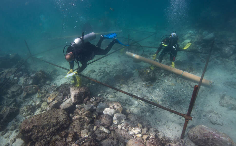 Divers excavate the wreck site of the Esmeralda, which sank in a storm in May 1503 off the coast of Oman, in this undated photo released on Tuesday.  Photo: Untitled, HONS / Blue Water Recoveries company