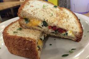 Grilled cheese and tomato with basil sandwich at Green Vegetarian Cuisine