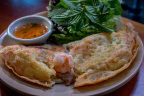 Vietnamese omelette with gulf shrimp and pork shoulder at the Slanted Door in  San Francisco, Calif., is seen on March 26th, 2015.