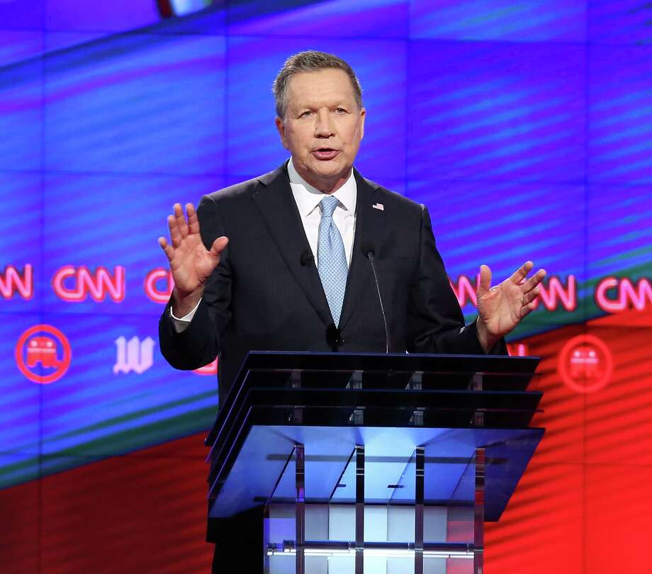 Republican presidential hopeful John Kasich makes a point during the debate in Coral Gables, Florida, last week. A reader says the Ohio governor stands out as the adult among a group of children. Photo: Joe Raedle /Getty Images / 2016 Getty Images