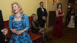 Dede Wilsey (left) chats with other ballet patrons during the performance intermission at the San Francisco Ballet's 2016 Opening Night Gala at War Memorial Opera House in San Francisco, Calif., on Thursday, January 21, 2015. The gala celebrated the opening of the company's 83rd season.