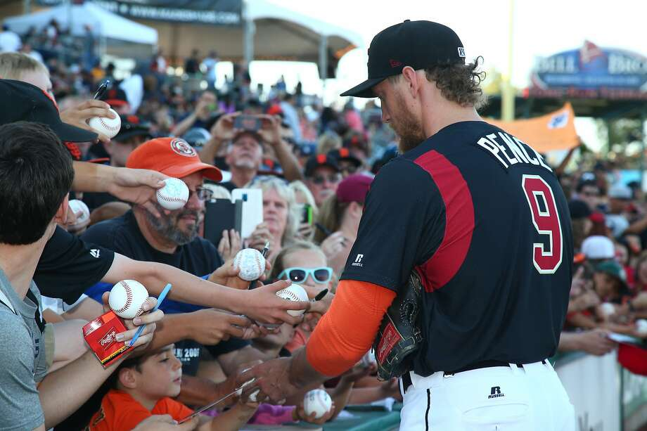 Giants right fielder Hunter Pence signs autographs at Raley Field last year. Photo: Courtesy River Cats Media Relations Robert Barsanti