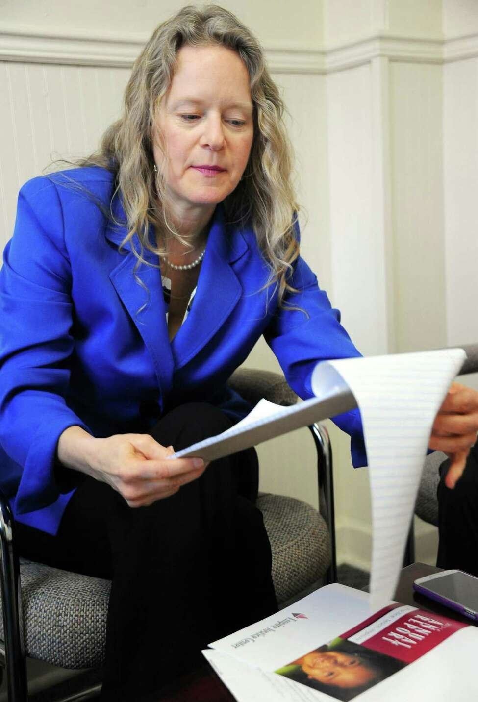 Albany field office director Jill Peckenpaugh in the U.S. Committee for Refugees and Immigrants offices Wednesday March 9, 2016 in Albany, NY. (John Carl D'Annibale / Times Union)