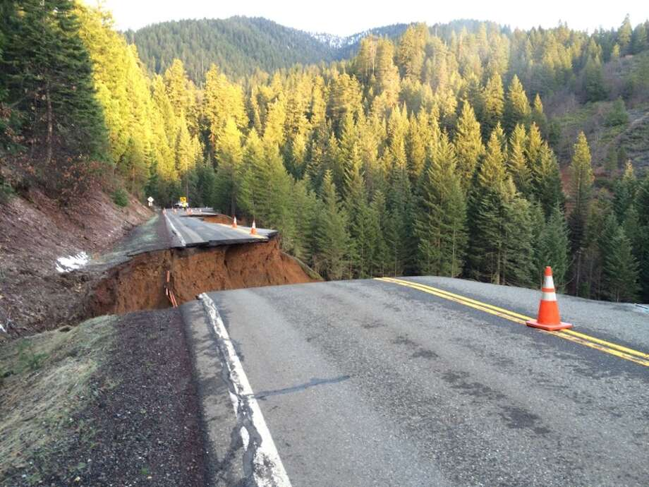 Recent heavy rains are being blamed for the collapse of this 50-foot section of Highway 3 in Trinity County Monday morning near Weaverville.