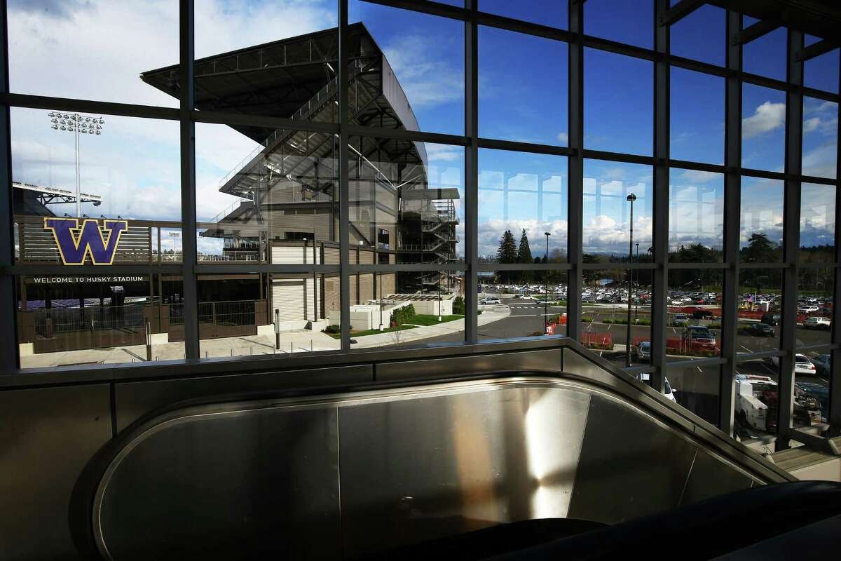 A view of Husky Stadium from inside the new University of Washington light rail station, Tuesday, March 15, 2016. The station will open to the public on Saturday at 10 a.m., providing service to the also new Capitol Hill station.