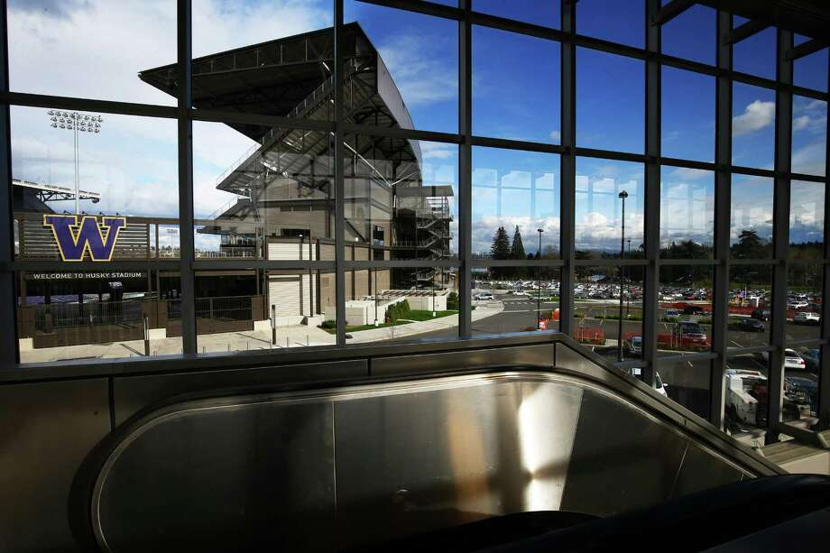 A view of Husky Stadium from inside the new University of Washington light rail station, Tuesday, March 15, 2016.  The station will open to the public on Saturday at 10 a.m., providing service to the also new Capitol Hill station. Photo: GENNA MARTIN, SEATTLEPI.COM / SEATTLEPI.COM