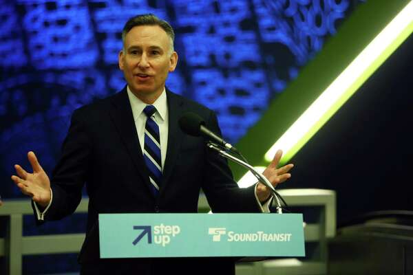 Dow Constantine, King County Executive and Sound Transit board chair, speaks briefly before a Sound Transit-hosted first-look ride for the media from the University of Washington station to the Capitol Hill station, Tuesday, March 15, 2016.  Both stations will begin train service Saturday at 10 a.m.
