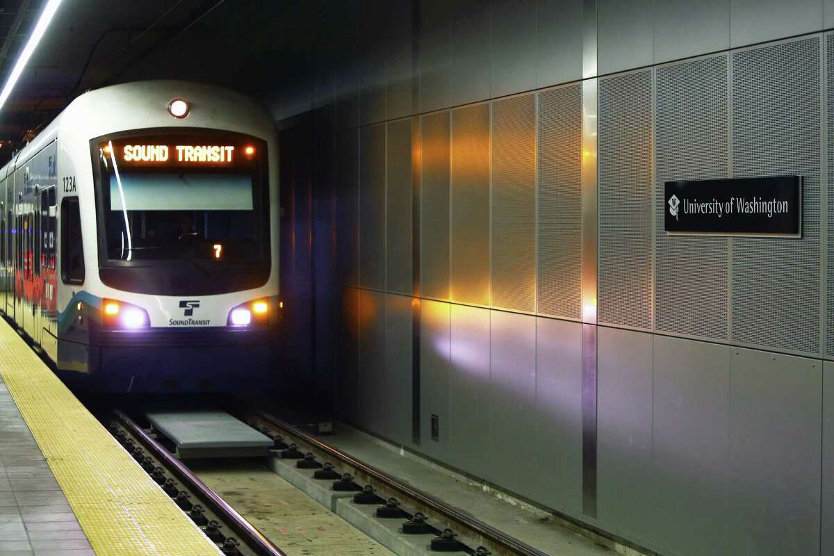 The interior of the University of Washington light rail station is seen during a Sound Transit-hosted first-look ride for the media from the University of Washington station to the Capitol Hill station, Tuesday, March 15, 2016.