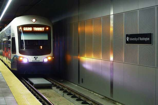 The interior of the new University of Washington light rail station is seen during a Sound Transit-hosted first-look ride for the media from the University of Washington station to the Capitol Hill station, Tuesday, March 15, 2016.  Both stations will begin train service Saturday at 10 a.m.