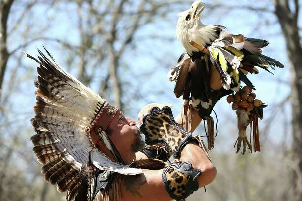 Kuauhtli Vasquez celebrates the Aztec New Years with the Kalpulli Ameyaltonal Tejaztlan community at the Headwaters Sanctuary at Incarnate Word on March 13. Legend has it that the Mexica people traveled from  Aztlán  to found what is now Mexico City. Where Aztlán is is a matter of some dispute.