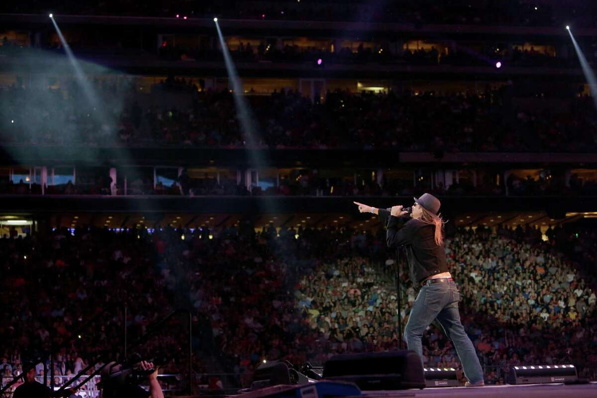 Kid Rock perfoms at RodeoHouston during the Houston Livestock Show and Rodeo in NRG Stadium Tuesday, March 15, 2016, in Houston.