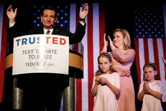 Ted Cruz speaks to his supporters during his election night watch party with his wife, Heidi and daughters Caroline and Catherine at the Hyatt Regency, Tuesday, March 15, 2016, in the Galleria area.