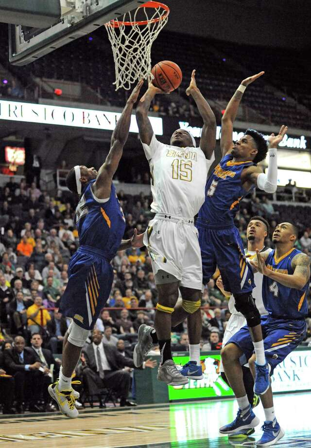 Siena's Nico Clareth drives to the basket during their first round game of the College Basketball Invitational against Morehead State at the Times Union Center on Tuesday March 15, 2016 in Albany, N.Y. (Michael P. Farrell/Times Union) Photo: Michael P. Farrell / 10035824A