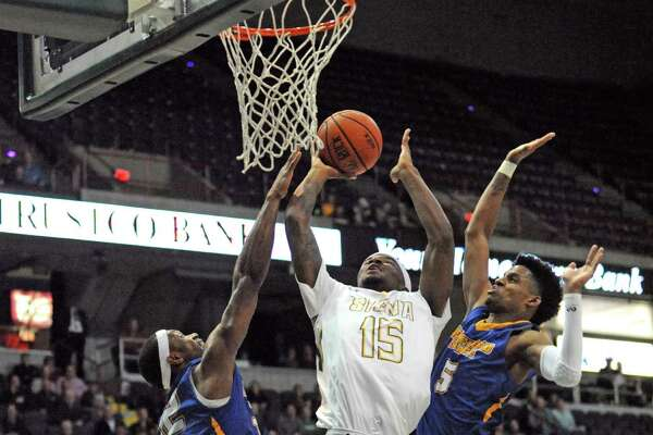 Siena's Nico Clareth drives to the basket during their first round game of the College Basketball Invitational against Morehead State at the Times Union Center on Tuesday March 15, 2016 in Albany, N.Y. (Michael P. Farrell/Times Union)