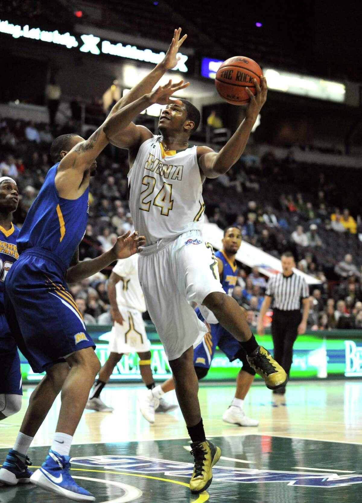 Siena's Lavon Long drives to the basket during their first round game of the College Basketball Invitational against Morehead State at the Times Union Center on Tuesday March 15, 2016 in Albany, N.Y. (Michael P. Farrell/Times Union)