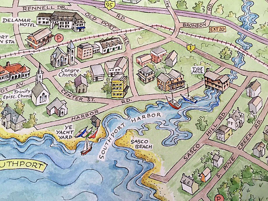 An artist's rendering of the town will be featured on a new Fairfield Map & Guide to be distgributed this summer. Photo: Contributed Photo / Contributed Photo / Fairfield Citizen