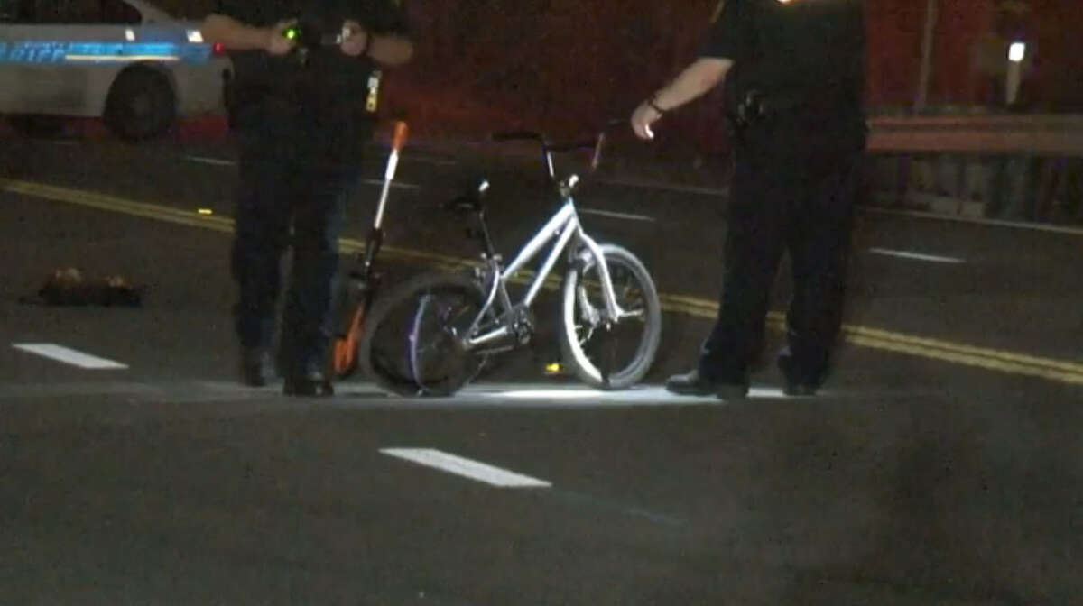 A bicyclist died Tuesday night when a hit-and-run driver in a sports utility vehicle slammed into him on a roadway in northeast Harris County.