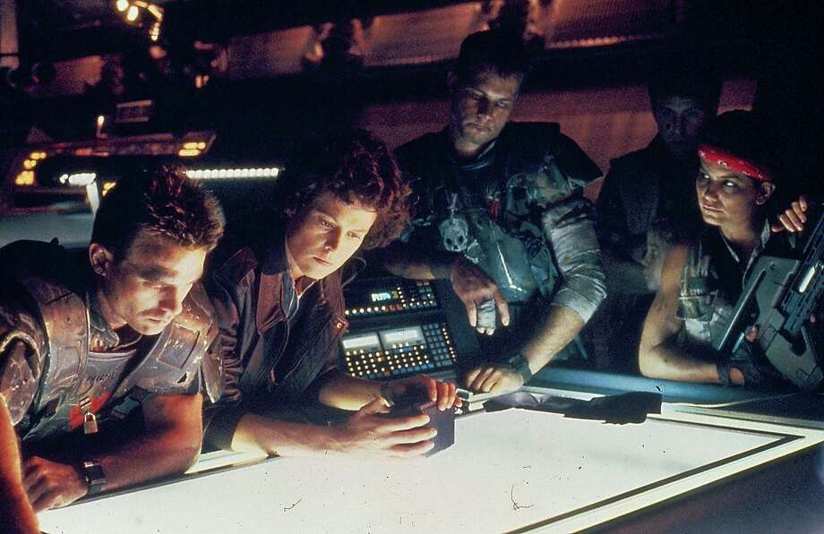 Actors Michael Biehn, Sigourney Weaver, Bill Paxton, Paul Reiser and Jenette Goldstein, in a scene from the movie 'Aliens', 1986. Photo: Stanley Bielecki Movie Collection , Getty  / 2013 Getty Images