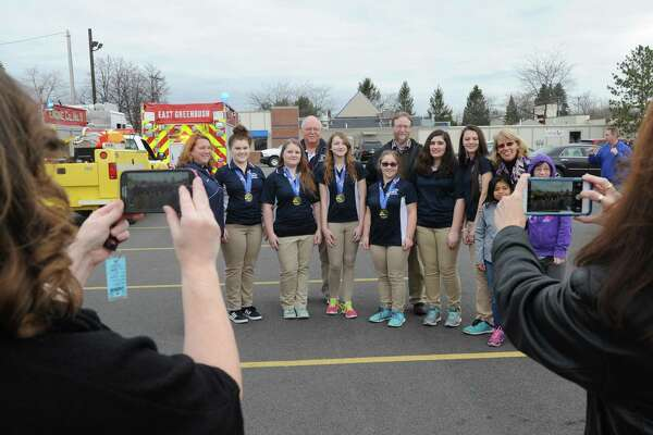 The state champion Columbia High School Girls Bowling team was honored with a parade from the East Greenbush Bowling Center to Howard L. Goff Middle School on Tuesday March 15, 2016 in East Greenbush, N.Y. (Michael P. Farrell/Times Union)