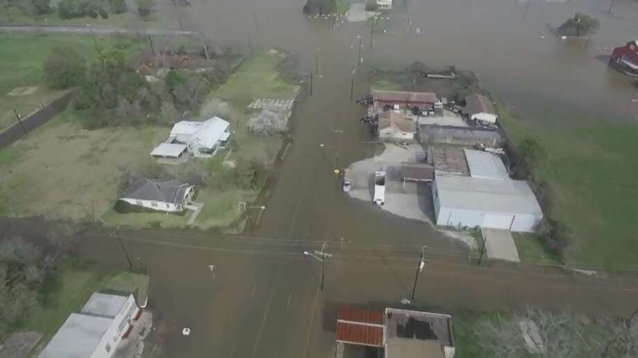 Drone footage from Tuesday, March 15, 2016, shows flooding in Orange County, Texas. Photo: Provided By Aaron Little
