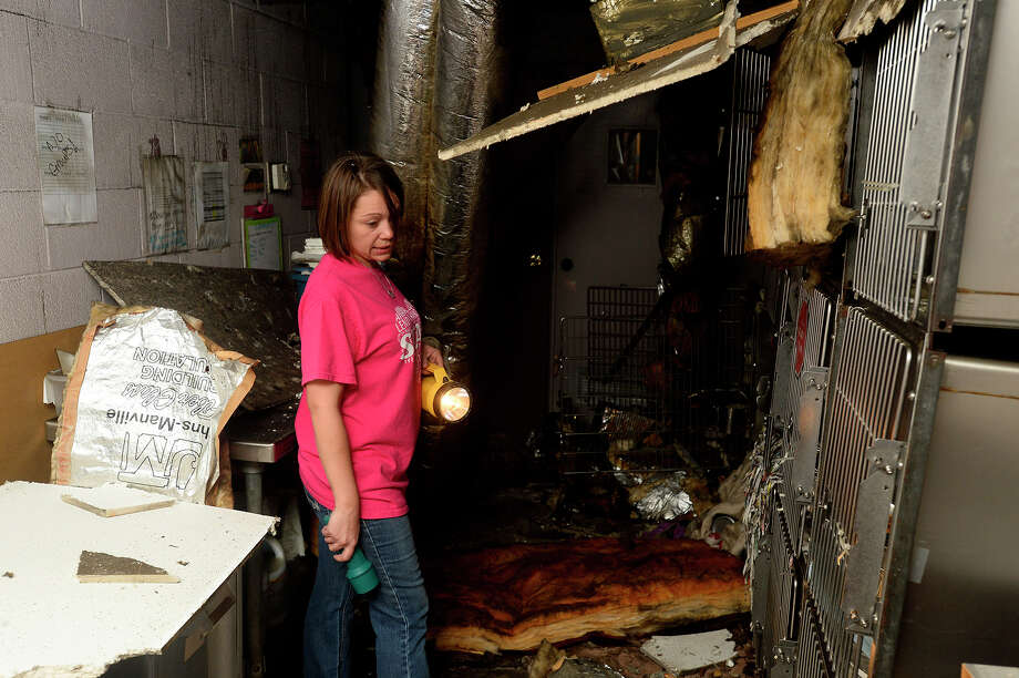 Carrie May, shelter manager, shows one of the rooms damaged by a Tuesday night fire at the Humane Society of Southeast Texas. The fire killed 74 dogs.  Photo taken Wednesday 3/16/16 Ryan Pelham/The Enterprise Photo: Ryan Pelham / ©2016 The Beaumont Enterprise/Ryan Pelham