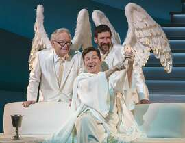 """This image released by Polk & Co. shows James Gleason, from left, Sean Hayes and David Josefsberg in a scene from """"An Act of God."""" Hayes has the title role in the West Coast production of the play, a cheeky take on the Almighty and what he really thinks of his imperfect human charges.(Jim Cox/Polk & Co. via AP)"""