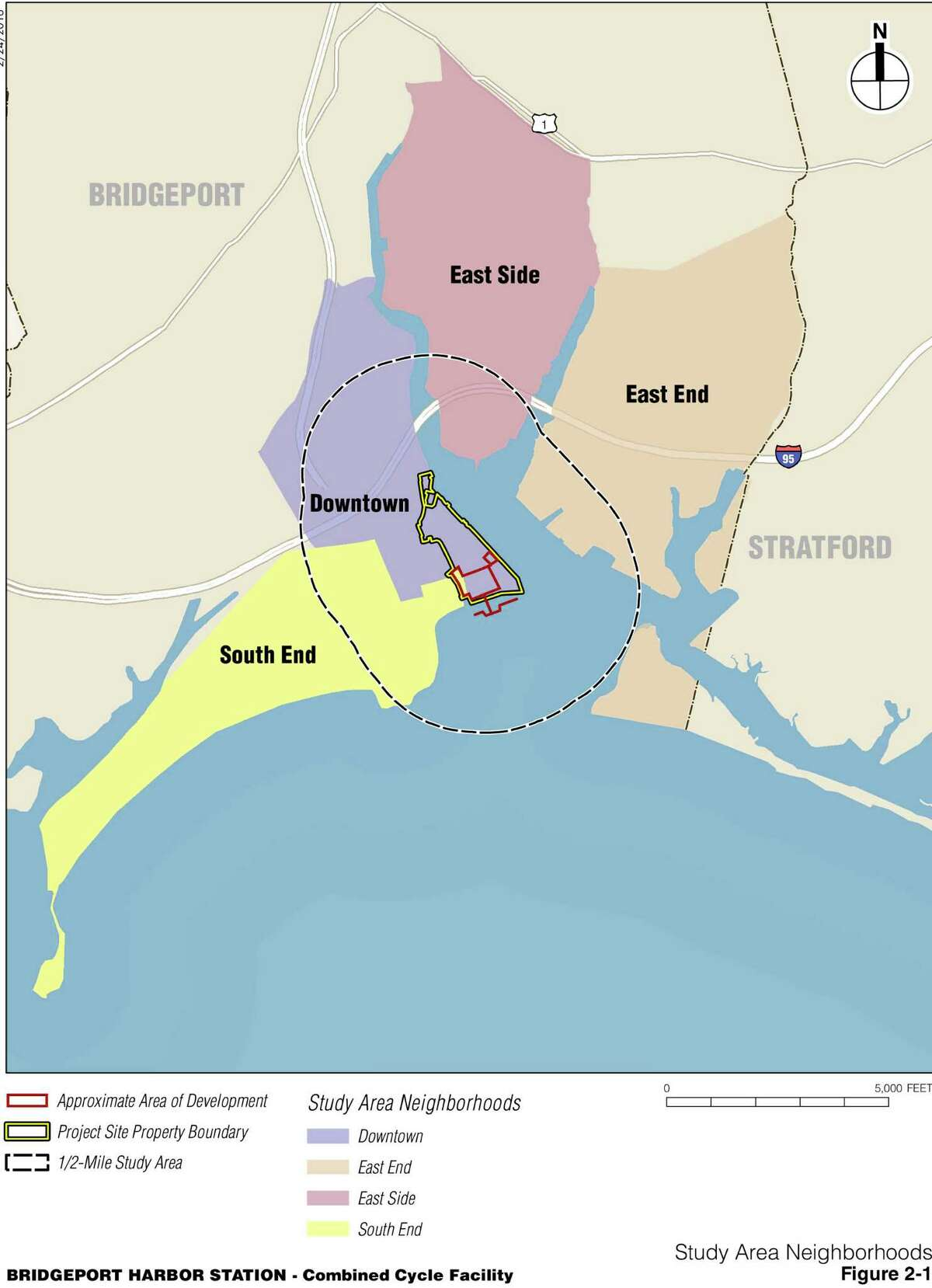 The new gas-buring plant will be built south of the existing coal-burning plant on Bridgeport Harbor.