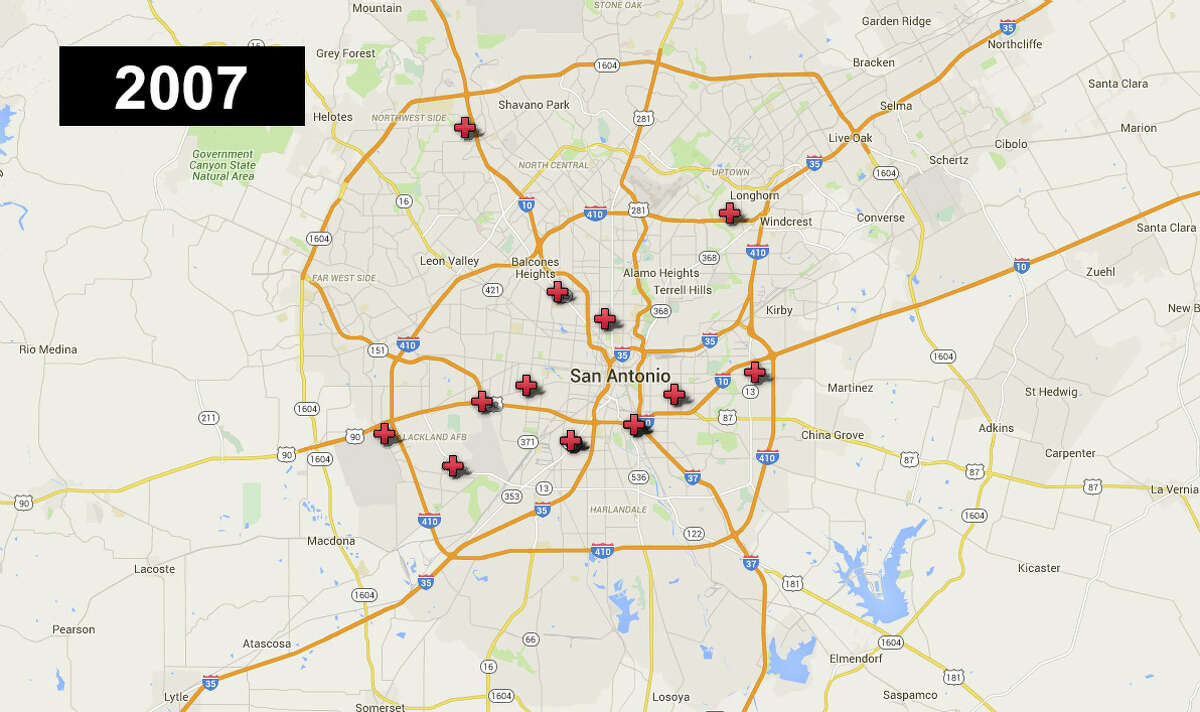 In 2007 , 14 San Antonio youth ages 0-17 were killed. *Some locations were the site of multiple deaths.Click forward to see how the map changes each year to 2014