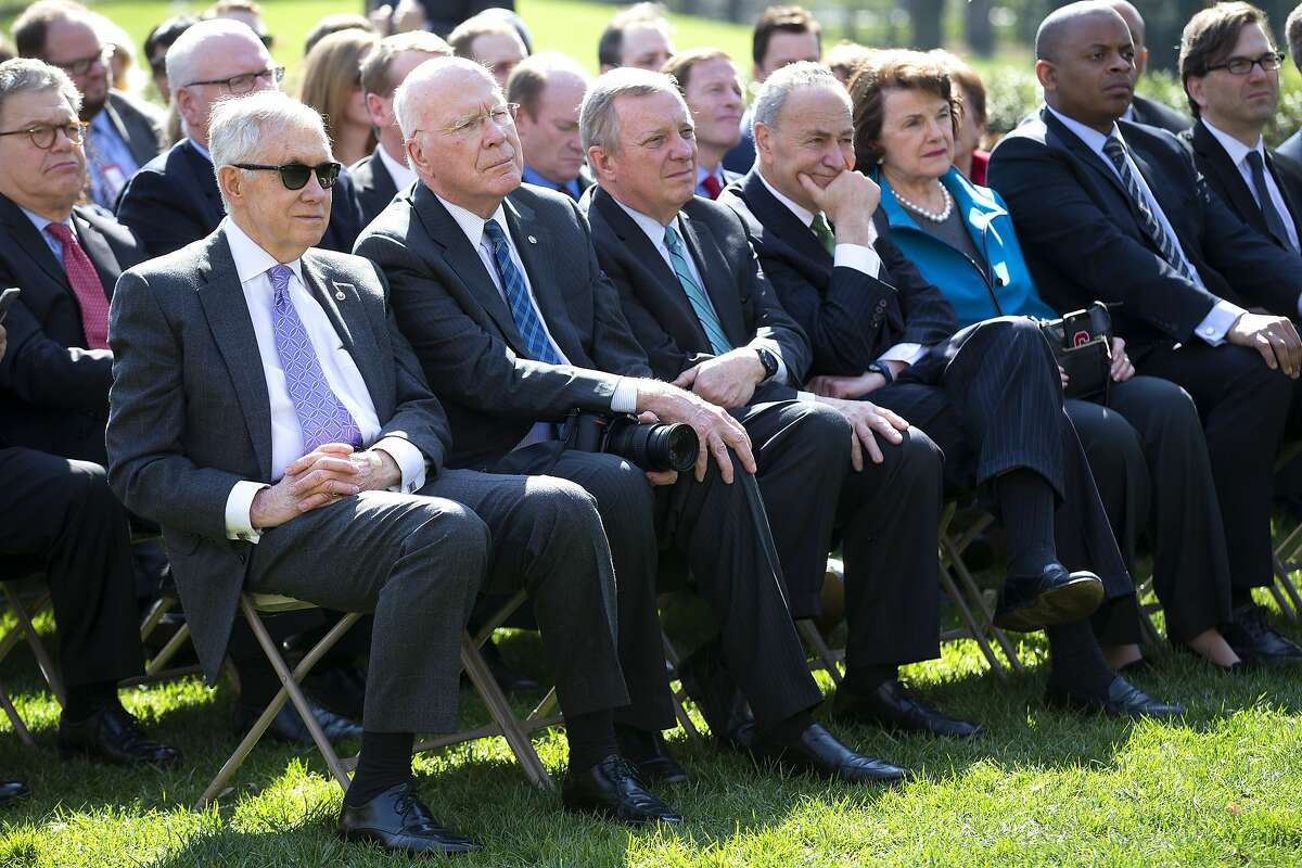 Members of congress present for President Barack Obama's announcement of his nominee for the Supreme Court vacancy, Merrick Garland, currently chief judge for U.S. Court of Appeals D.C. Circuit, in the Rose Garden at the White House in Washington, March 16, 2016. From left: Senate Minority Leader Harry Reid (D-Nev.), with Sens. Patrick Leahy (D-Vermont), Dick Durbin (D-Ill.) Chuck Schumer (D-N.Y.) and Dianne Feinstein (D-Calif.) (Doug Mills/The New York Times)