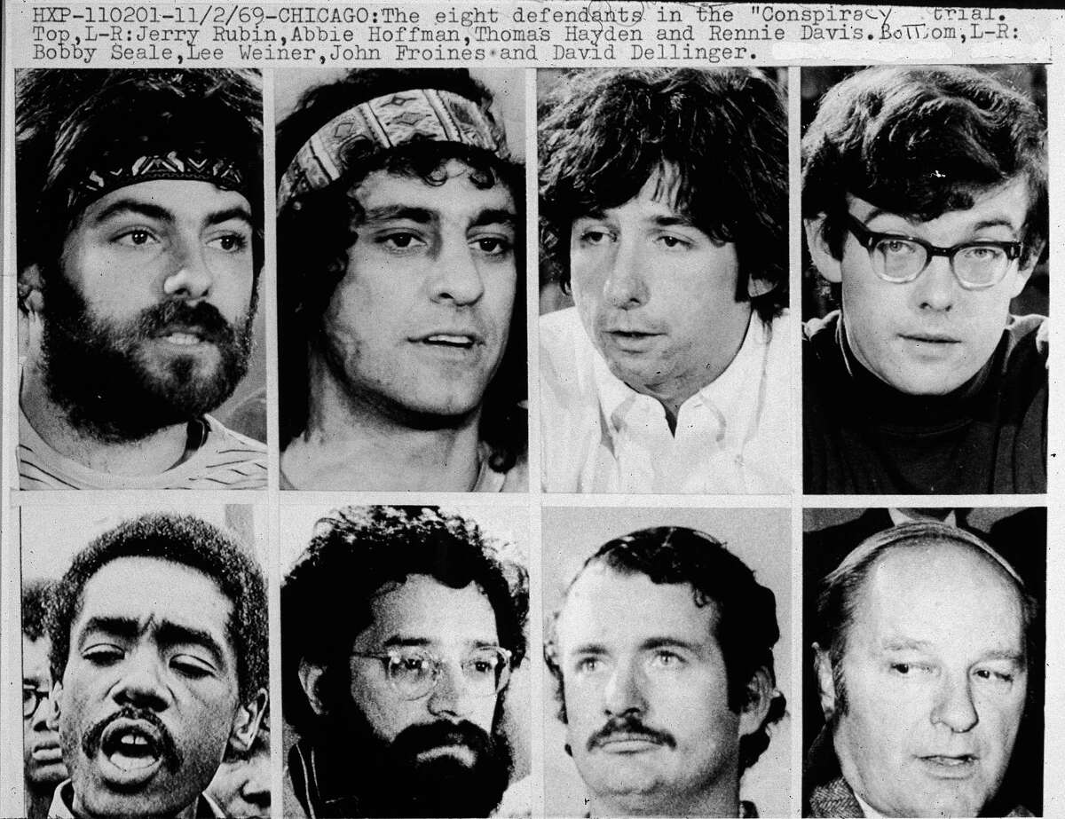 Closeups of the Chicago Eight: (top Left to right) Jerry Rubin (1938 - 1998), Abbie Hoffman (1936 - 1989),Tom Hayden, Rennie Davis, Bobby Seale, Lee Weiner, John Froines and David Dellinger (1915 - 2004), circa 1968. The Chicago Seven, as they were called after Seale was severed from the case, were indicted for conspiracy and inciting a riot during the 1968 Democratic National Convention in Chicago, Illinois. Froines and Weiner were acquitted on all charges. The other five were convicted of inciting to riot, but the convictions were overturned on appeal.