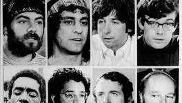 Closeups of the Chicago Eight: (top L-R) Jerry Rubin (1938 - 1998), Abbie Hoffman (1936 - 1989),Tom Hayden, Rennie Davis, Bobby Seale, Lee Weiner, John Froines and David Dellinger (1915 - 2004), circa 1968. The Chicago Seven, as they were called after Seale was severed from the case, were indicted for conspiracy and inciting a riot during the 1968 Democratic National Convention in Chicago, Illinois. Froines and Weiner were acquitted on all charges. The other five were convicted of inciting to riot, but the convictions were overturned on appeal.