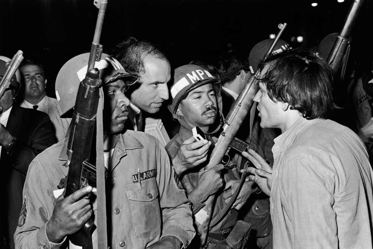 August 1968 Anti-Vietnam War protesters clashed with National Guardsmen outside the 1968 Democratic National Convention in Chicago.