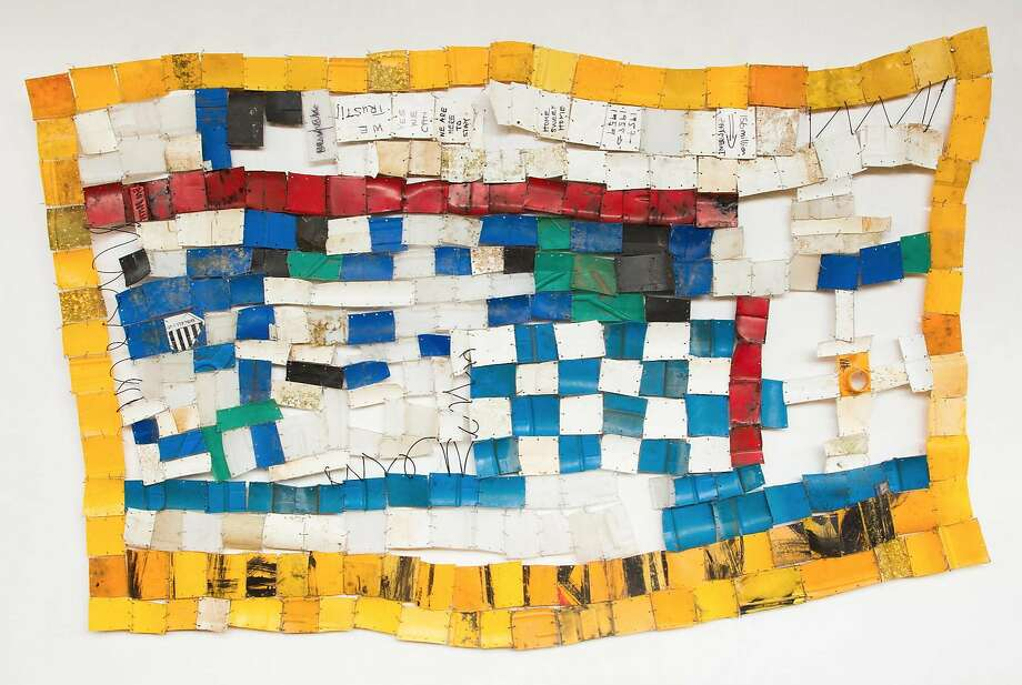 "Serge Attukwei Clottey, ""American Lottery"" (2015) at Ever Gold Projects Photo: Courtesy Ever Gold Projects"