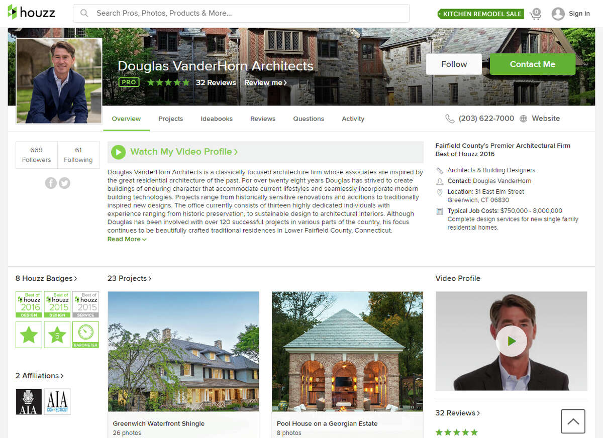 Douglas VanderHorn Architects is one of the home improvement professionals listed on the Houzz website. Houzz allows homeowners to browse samples of interiors and gauge the look of varying design elements before entering stores to see the samples in person.