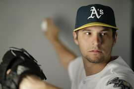This is a 2016 photo of Kendall Graveman of the Oakland Athletics baseball team. This image reflects the Oakland Athletics active roster as of Monday, Feb. 29, 2016, when this image was taken. (AP Photo/Chris Carlson)