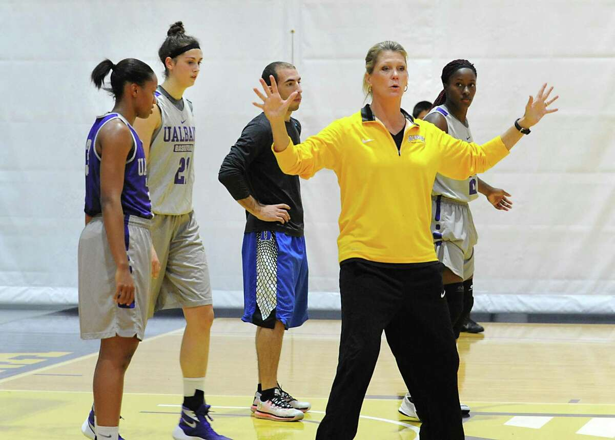 UAlbany women's basketball coach Katie Abrahamson-Henderson works with her team during practice on Thursday, Oct. 15, 2015 at the SEFCU Arena in Albany, N.Y. (Lori Van Buren / Times Union)