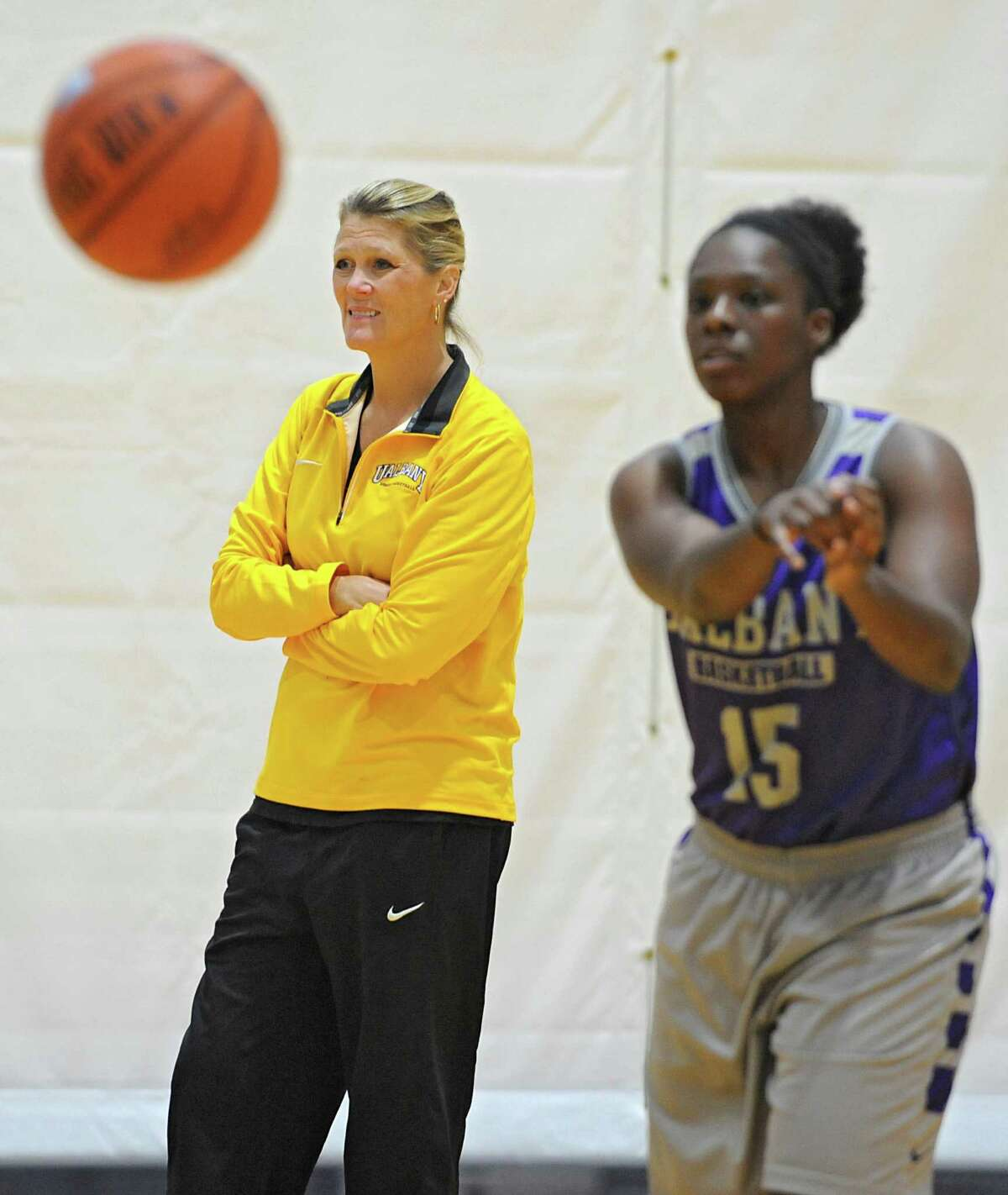 UAlbany women's basketball coach Katie Abrahamson-Henderson, left, watches her team during practice on Thursday, Oct. 15, 2015 at the SEFCU Arena in Albany, N.Y. (Lori Van Buren / Times Union)